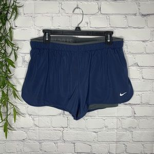 Nike Dri Fit 2 in 1 shorts large nwt blue and gray